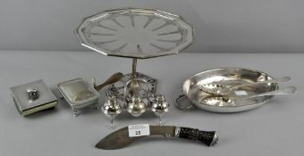 A collection of assorted silver plated items to include silver ink blotter
