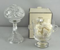 A crystal glass lamp together with Wedgwood crystal ice bucket in original box,