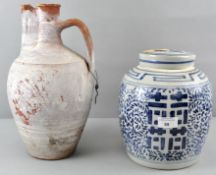 A Chinese ginger jar and an earthenware ewer,