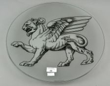 A Wedgwood 'Contrasts' glass charger depicting a griffin to front,