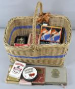 A collection of assorted playing cards in a wicker basket