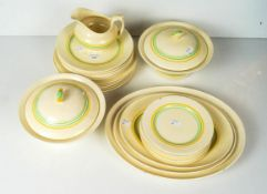 A Newhall pattern dinner service comprising; two lidded dishes, plates and a sauce boat.