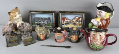 A collection of assorted Toby jugs along with two Owl bookends and other items,