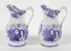 Two Staffordshire pottery blue and white transfer printed Royal Commemorative jugs,