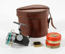 A Hardy Bros Ltd (Alnwick) 'The Attex' No 2 mark XV fishing reel in leather case,
