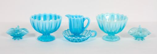 A collection of Davidson's blue 'Pearline' press moulded glass, late 19th century,