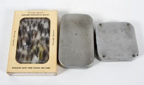 A vintage Wheatley metal fly box, of shaped rectangular form,