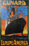 "A vintage Cunard Europe America print of a cruise liner ""Berengaria"" copyrighted May 1989,"