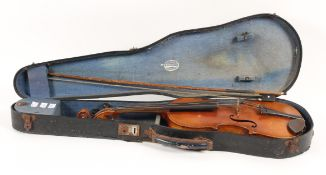 An early 20th century violin, with two piece back, length of back 37cm, together with bow,