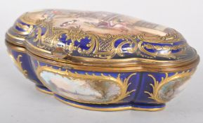 A Sevres style quatrefoil gilt metal mounted box and cover, early 20th century,