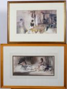William Russell Flint (1880-1941), two framed and mounted prints,