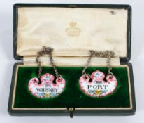 """A pair of 19th century Staffordshire enamel decanter labels, """"Port"""" and """"Whiskey"""","""