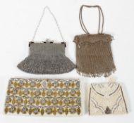 A beaded purse; a clutch bag with gilt,