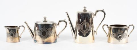 A 19th century four piece Britannia metal silver plate tea set by James Dixon & Sons