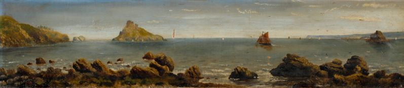 ?Manley, Coastal scene of sailing ships, oil on canvas, signed and dated 1887 lower left,