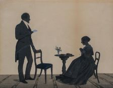 A Victorian double portrait silhouette painting, signed Brauhurt lower left,