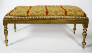 A gilt wood Georgian style window seat, late 19th century, of rectangular section,