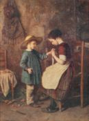 A gilt framed picture depicting two children, indistinctly signed to bottom left,