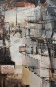 Singh, A Cubist City scape, oil on canvas, signed lower left,