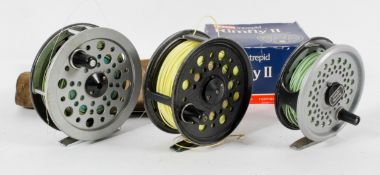 Three fly fishing reels, to include Youngs Pridex Noris Shakespeare,