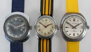 A collection of three wristwatches of variable designs to include an Aero mechanical and a Sicura