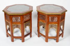 A pair of octagonal occasional tables, each of winged construction,