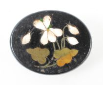 A Pietra Dura brooch with gold plated fittings. 12.7 grams