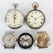 A collection of watches to include a base metal open face pocket watch; a chrome finish stop watch;