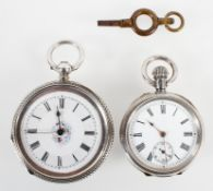 A small stamped silver 0.935 open face pocket watch