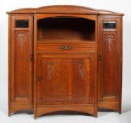 An Art Nouveau oak cupboard, circa 1890,