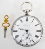 An open face pocket watch. Circular white dial, signed C Guinand 7405. Key wound movement.