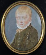 A 19th century miniature of a young boy, in ebonised frame,