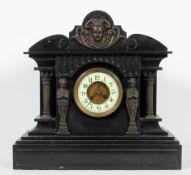A Venetian black slate marble clock,