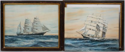 A pair of late 19th century maritime gouaches depicting the Tea Clipper ships Hornet and Killeena,
