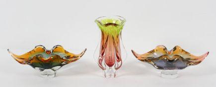 A set of three Chribska (Czech), items of Art glass, designed by Josef Hospodken, circa 1960,