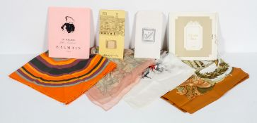 A collection of silk scarves, including Hermes Tahiti, Pierre Balmain,