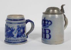 Two German salt glaze stoneware tankards, late 19th century,