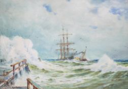 J Marsh, 'Rough Weather', watercolour, signed and titled lower left,