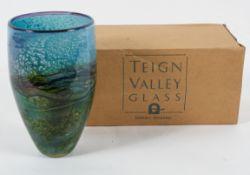 A Jonathan Harris 'Horizon' pattern Studio glass tapering vase, etched signature, 2009,