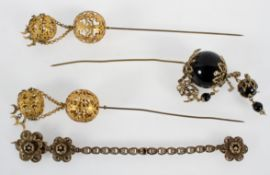 Three Chinese hair/wig pins and a filigree metal bracelet