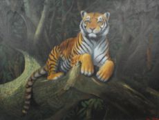 R Evans, Tiger on a branch, acrylic on canvas, signed and dated 1989 lower right,
