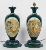 A pair of late 20th century painted wood table lamps, of ovoid baluster form,