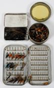 A Hardy Bros Ltd (Alnwick) metal fly box with some flies, applied with badge,