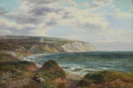 A 19th century,coastal landscape with cliffs in the distance, oil on canvas, framed and glazed,