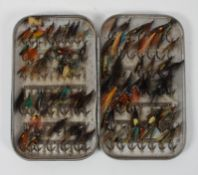 A Hardy Bros Ltd (Alnwick) metal fly box with flies, with applied badge to box,