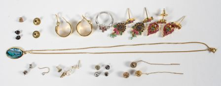 A collection of jewellery to include: Two pairs of yellow metal drop earrings tested as base metal