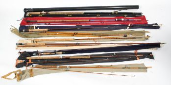 A collection of vintage fly fishing rods : A Hardy Bros (Alnwick) split cane fly rod,