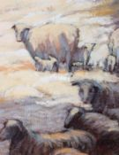 20th century School, Sheep and lambs in a snowy scene, oil on board,