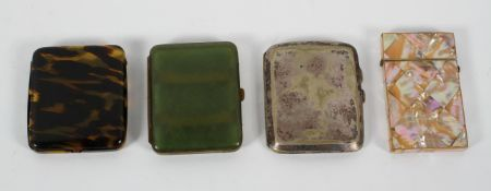 A late 19th century mother of pearl and abalone shell card case,