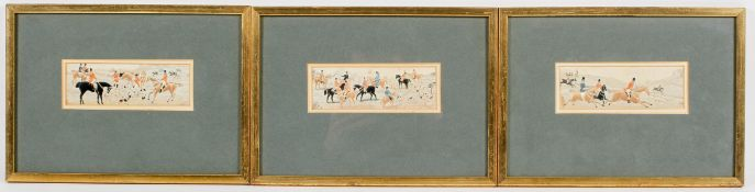 Three Victorian Stevengraphs of hunting scenes, in later frames,